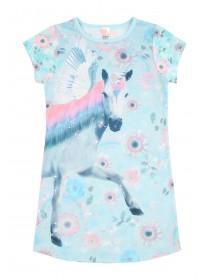 Girls Aqua Unicorn Nightdress