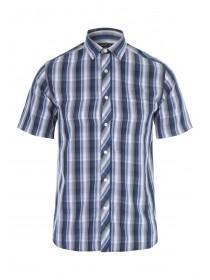 Mens Blue Short Sleeve Check Shirt