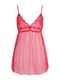 Womens Red Mesh Babydoll Set