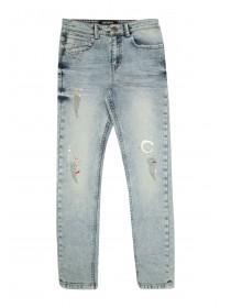 Older Boys Blue Splatter Skinny Jeans