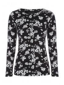 Womens Monochrome Floral Top
