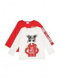 Younger Girls 2pk Red Slogan Tops