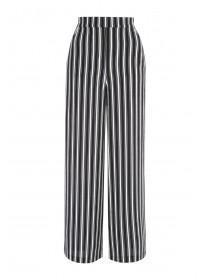 Womens Monochrome Stripe Wide Leg Trousers