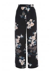 Womens Black Floral Wide Leg Trousers