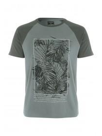 Mens Khaki Printed T-Shirt