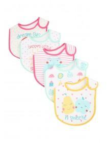 Baby Girls 5pk Slogan Bibs