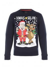 Mens Navy Xmas Selfie Graphic Sweater