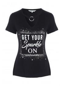 Womens Black Sparkle Slogan T-Shirt