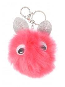 Fluffy Pink Face Keyring