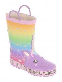 Younger Girls Unicorn Glow In The Dark Wellies