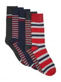 Mens 5pk Red Socks
