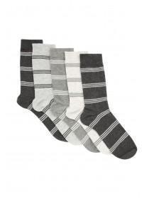 Mens 5pk Grey Stripe Socks
