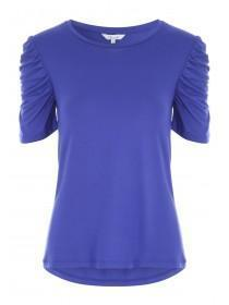 Womens Blue Ruched Sleeve Tee