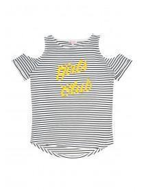 Older Girls Monochrome Stripe Slogan T-Shirt