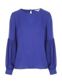 Womens Blue Long Sleeve Blouse