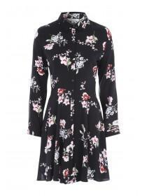 Womens Floral Button Through Shirt Dress