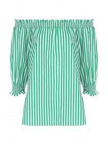Womens Green Stripe Bardot Top