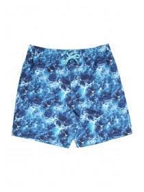 Mens Mid Blue Waves Swimshorts