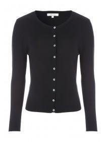 Womens Black Crew Neck Cardigan