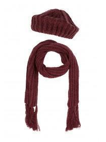 Womens Super Soft Red Scarf and Hat Set