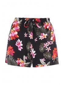Womens Black Floral Viscose Pyjama Shorts