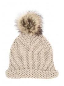 Womens Fur Pom Rib Beanie Hat