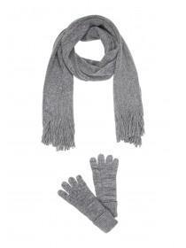 Womens Lurex Sparkle Scarf & Gloves