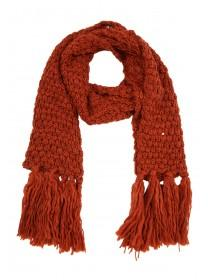 Womens Rust Tassel Knitted Scarf