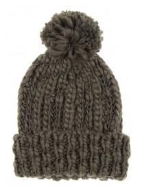 Womens Khaki Chunky Beanie Hat