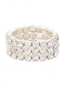 Womens Classic Diamante Band Ring