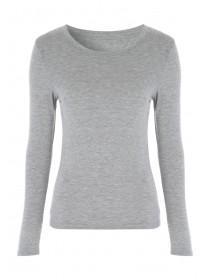 Womens Grey Long Sleeve Thermal Top