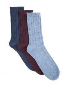 Womens 3pk Blue and Purple Socks