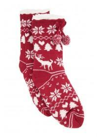 Womens Red Fairisle Slipper Socks