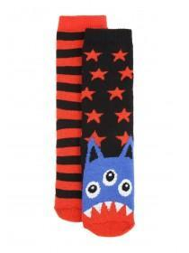 Boys 2pk Black Monster Socks