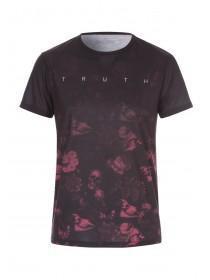 Mens Faded Floral and Skull Print Tshirt