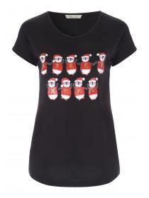 Womens Black Penguin Christmas T-Shirt