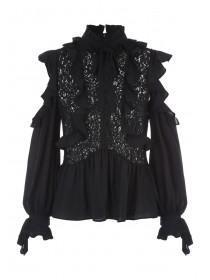Womens Black Ruffle Sleeve Blouse