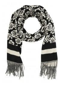 Womens Monochrome Floral Woven Scarf