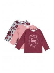 Younger Girls 3pk Pink T-Shirts