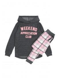 Older Girls Grey Slogan Pyjama Set