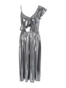 Womens ENVY Metallic Frill Dress