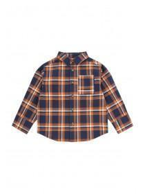 Younger Boys Blue and Orange Check Shirt