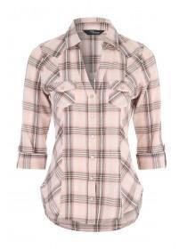 Jane Norman Pale Pink 3/4 Sleeve Check Shirt