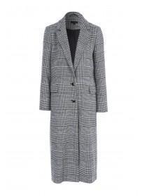 Womens Monochrome Check Long Line Coat