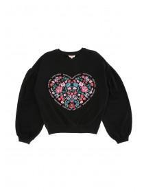 Older Girls Black Floral Heart Sweater