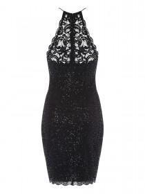 Jane Norman Black Lace Sequin Racer Dress
