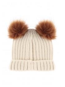 Jane Norman Beige Two Pom Hat