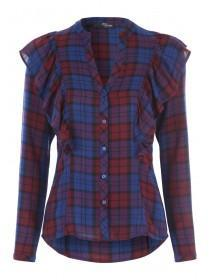 Jane Norman Red and Blue Ruffle Check Shirt