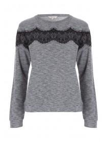 Womens Grey Lace Sweater