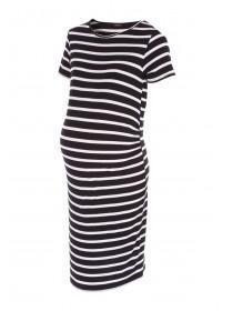 Womens Maternity Stripe Midi Dress